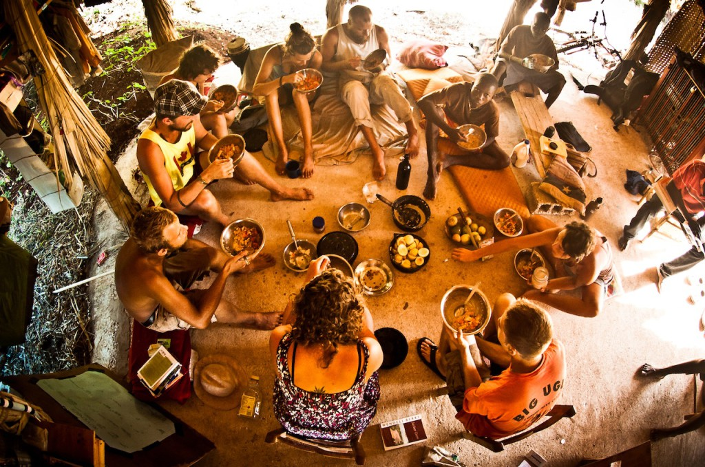 sadhana forest community lunch