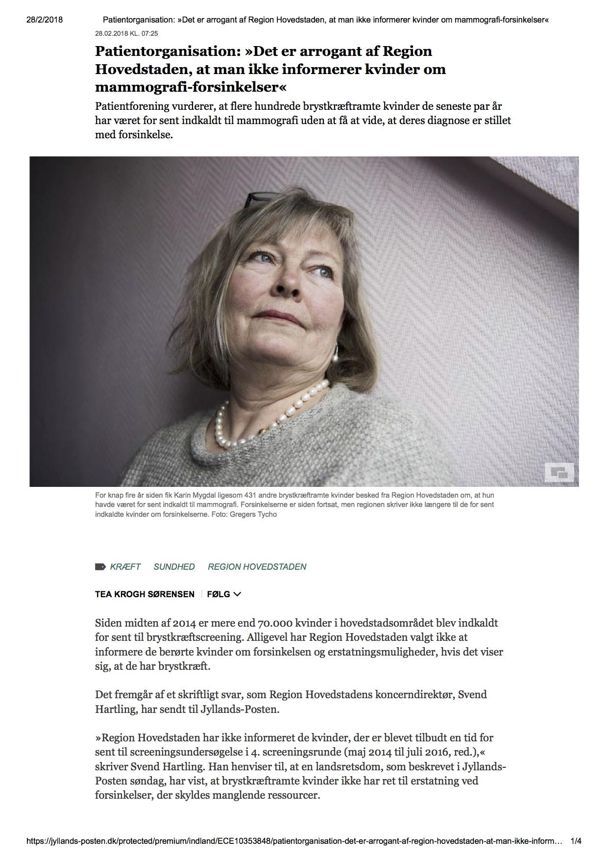 Patientorganisation_ »Det er arrogant af Region Hovedstaden, at man ikke informerer kvinder om mammografi-forsinkelser«.jpg