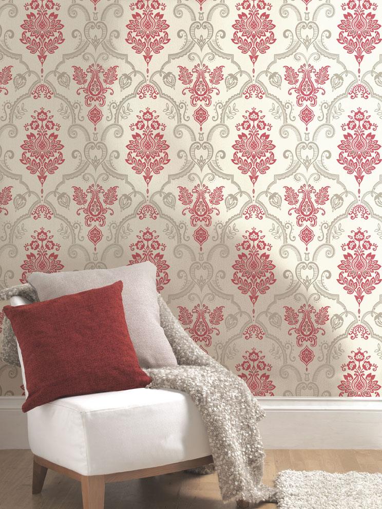 aragon red damask wallpaper