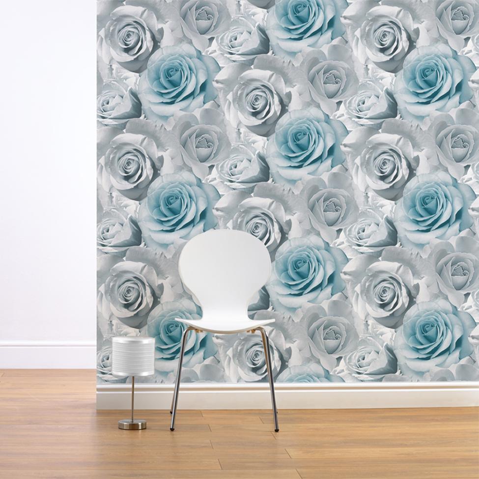 Muriva - Large Blue Rose Wallpaper