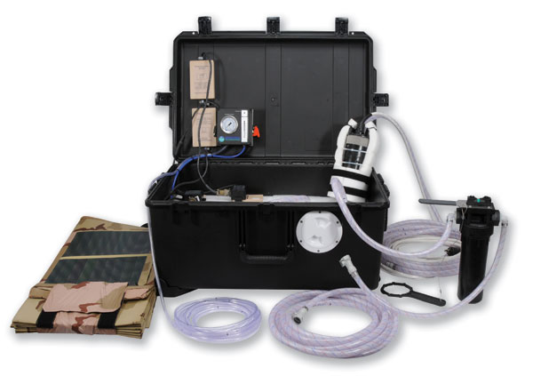 Military Grade Portable Water Filtration Systems - Drinking Water Solutions that provide 30 to 100,000 Gallons a day of purified water from any fresh or saltwater source.  perfect for Military, Humanitarian, and Disaster Response.  Custom systems provide scalable solutions to your specific project requirements.