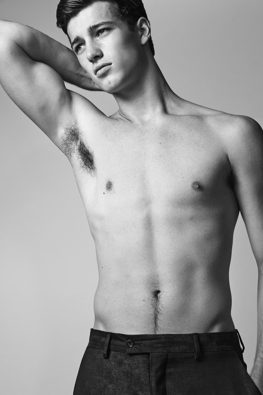 "Robbie Beeser  of  New York Models     HEIGHT: 6'2"" | WAIST: 30 | SHOE: 10.5 | HAIR: BROWN | EYES: BLUE-GREEN   Photo by:  Dustin Mansyur  &  Marc Sifuentes     Pants by  John Varvatos"