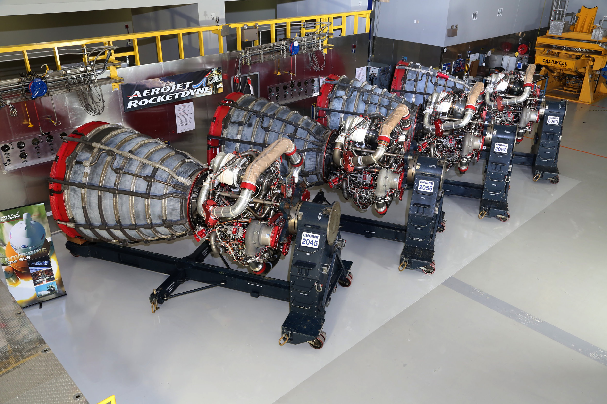 Aerojet Rocketdyne photo via NASA:  https://www.nasa.gov/feature/first-four-space-launch-system-flight-engines-ready-to-rumble