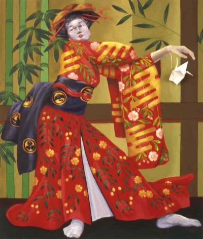 Geisha with Origami Crane