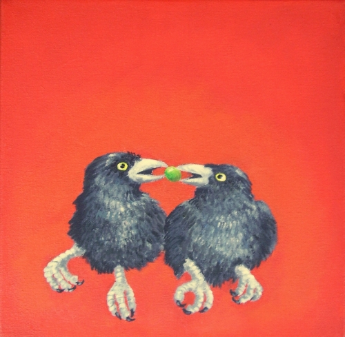 Fledgling Crows with Berry