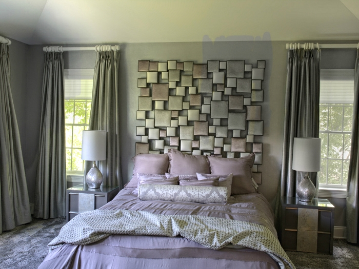 Custom headboard in Irvington home