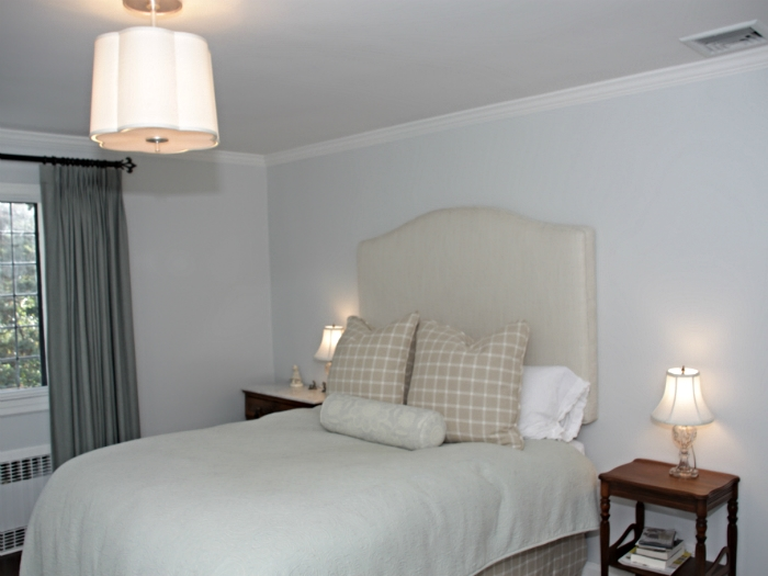 Custom headboard Scarsdale guest room