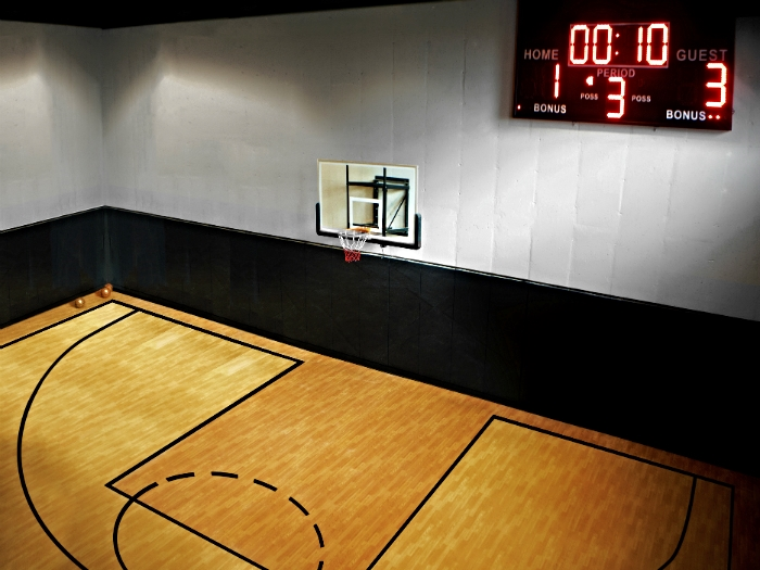 Indoor basketball court in a Tarrytown, NY house