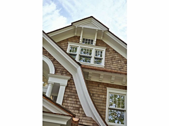 Gambrel roof detail with copper
