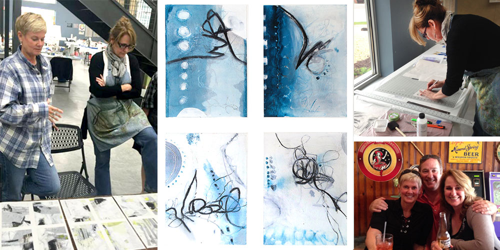 L-R: Sue & I during critique • a snapshot of some small works on paper -returning to my abstract hand • Working away • Having fun with Sue & Jeff in downtown Mineral Point.