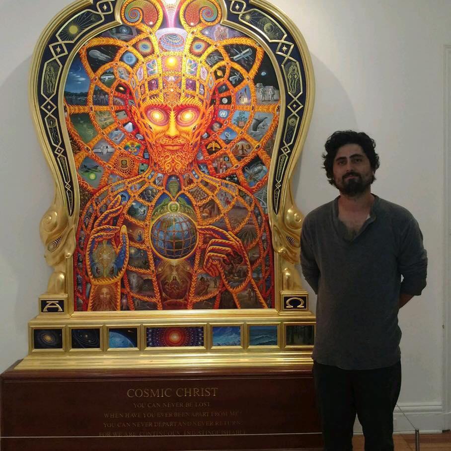 John Bertolone next to Alex Grey's Cosmic Christ