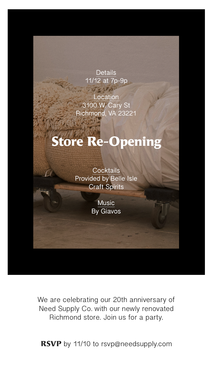 Unused email design for the new store re-opening party