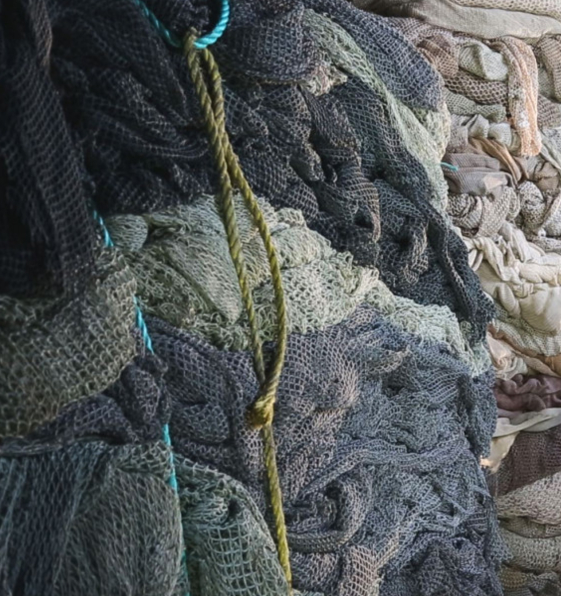 Rogue fishing nets collected from the open ocean.