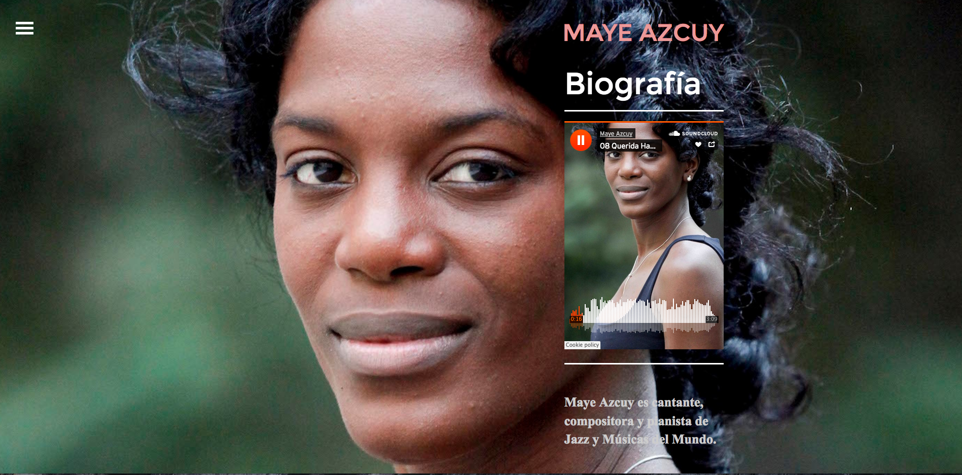 Web Design  for Jazz and World Music artist  Maye Azcuy    mayeazcuy.com