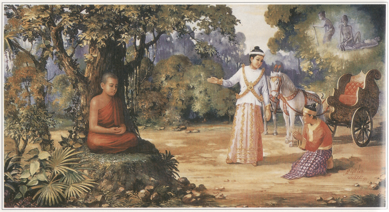 The Four Great Signs, namely — an old man, a sick man, a corpse and a serene mendicant. These made the Prince to realize the unsatisfactoriness of life and urged him to ponder deeply about renunciation.  (Photo: www.saraniya.com)