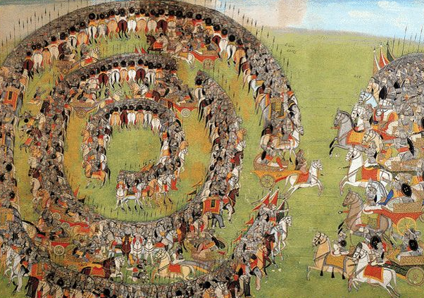 Abhimanyu, Arjuna's son, trapped in a Chakravyuh  (Photo: Pinterest, non-commercial use)