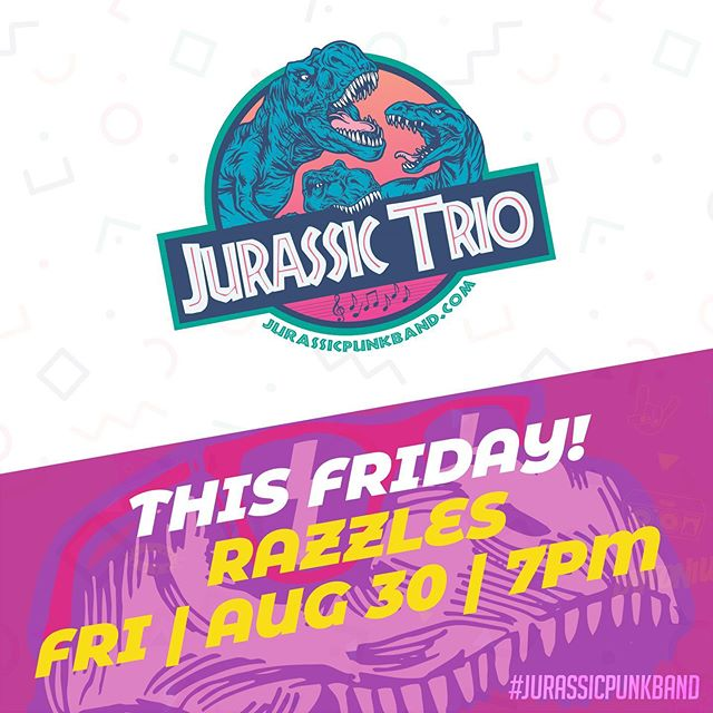 Join us this Friday night on the back patio at Razzles for some acoustic music and volleyball! #jurassicpunkband
