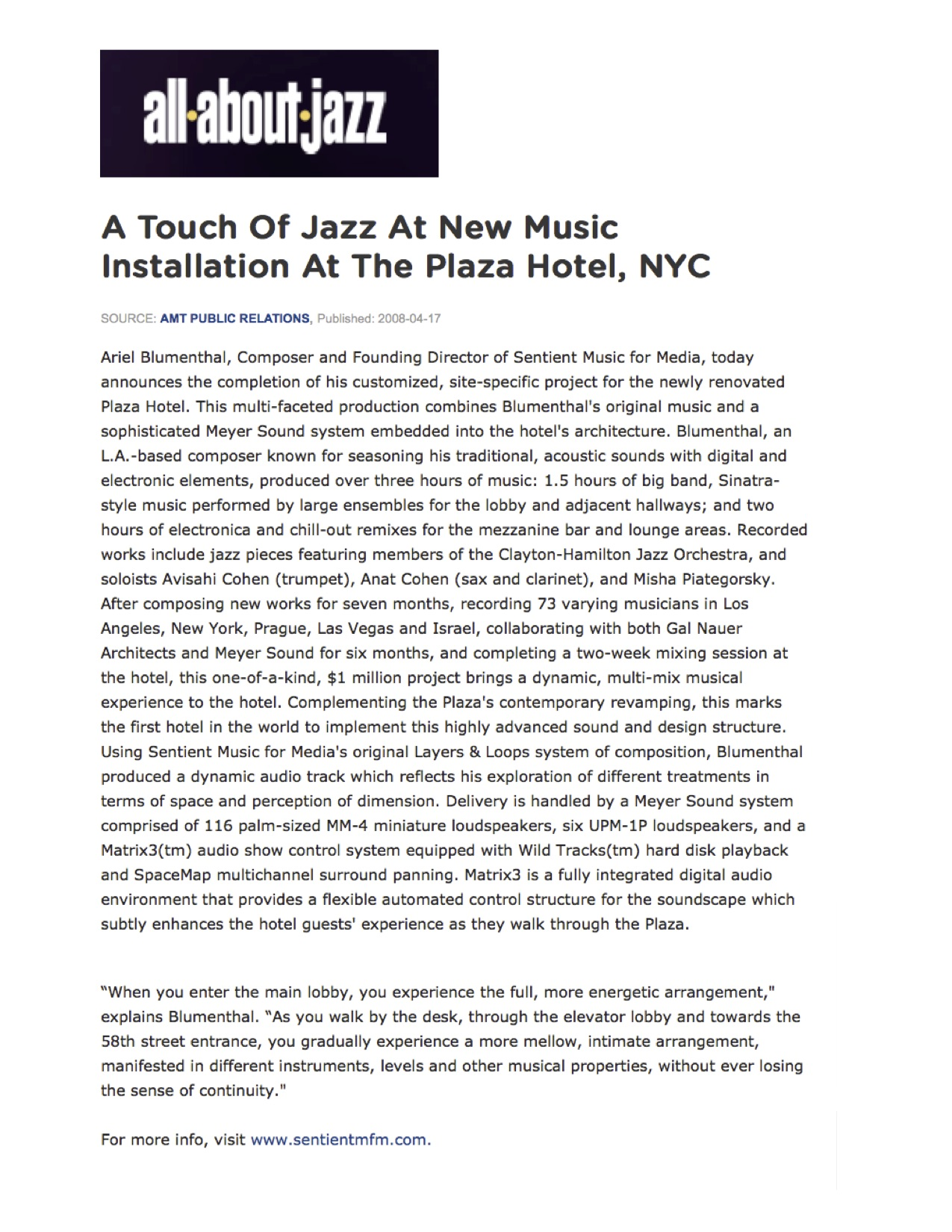 Composer Ariel Blumenthal Review: Plaza Hotel 3-dimensional music installations All About Jazz