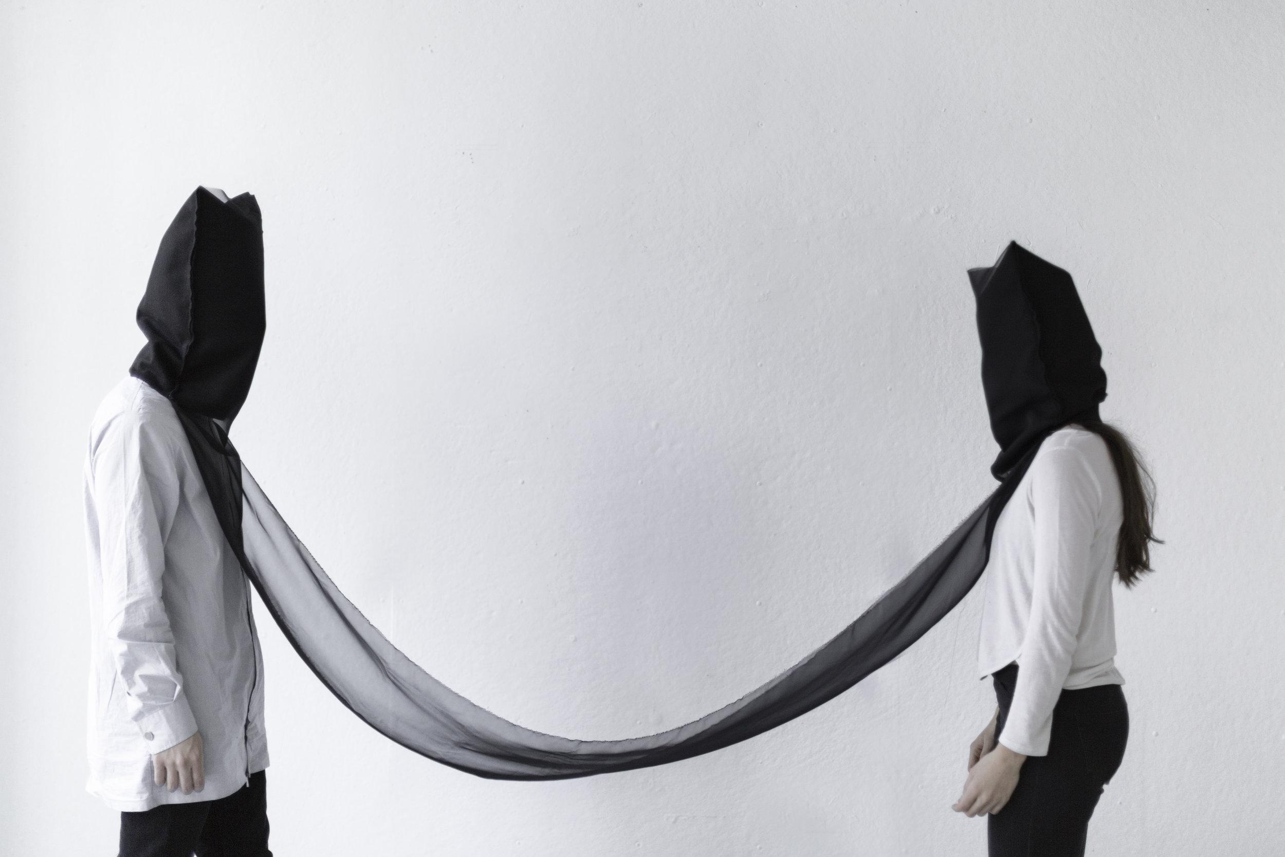 Prisoners of (Mourning). Thread, felt, and chiffon fabric. M Bohrer.