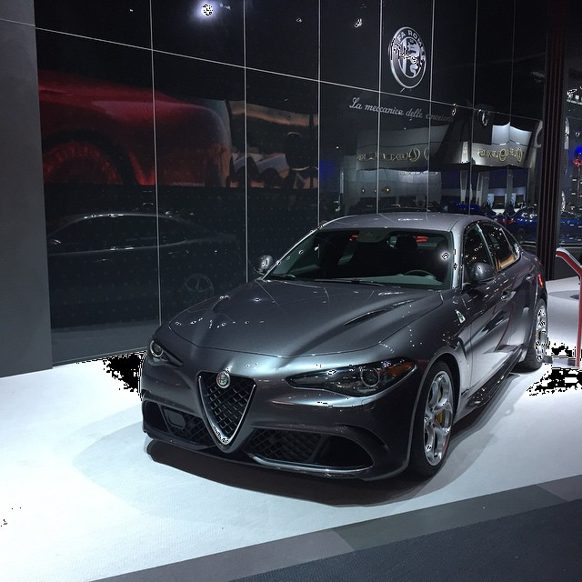 Alfa Romeo's #M3 competitor, the #Giulia #Quadrifolio. A less expensive 4-cylinder version is coming. #LAAutoShow