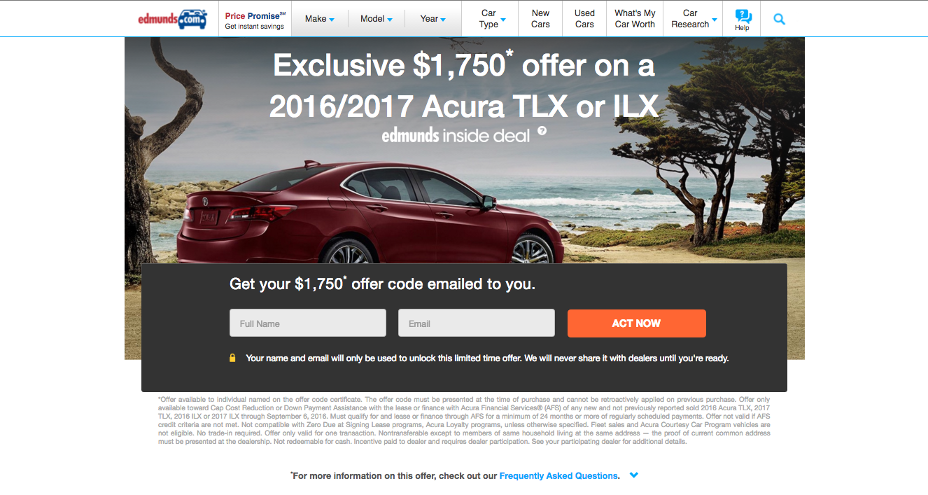 Leasehackr Edmunds Acura TLX ILX Cash Offer