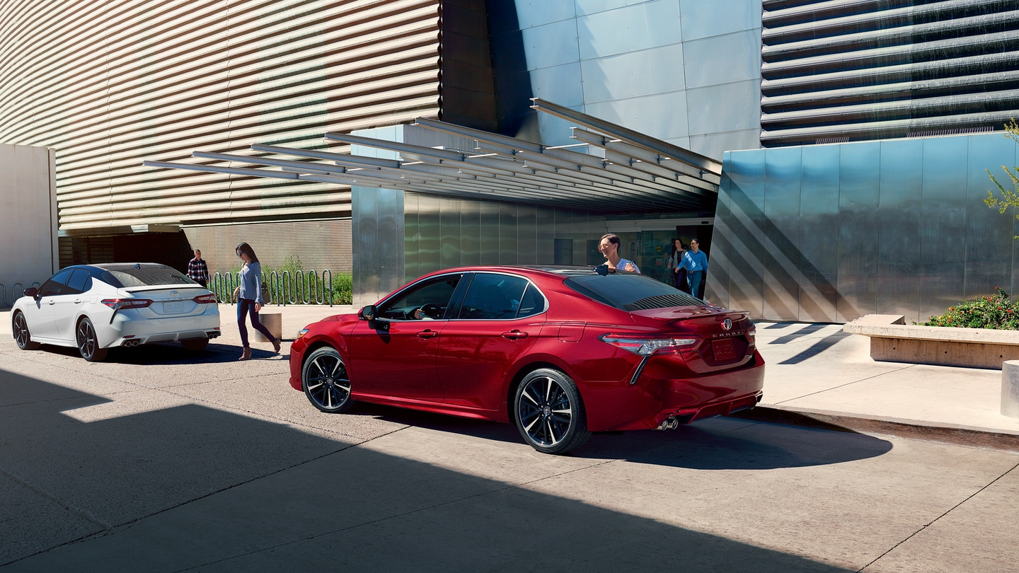 Gashes on the rear bumper are not Camry Dents, but rather faux air vents! (source: pressroom.toyota.com)