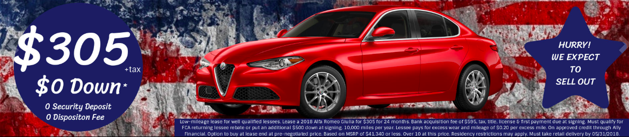 "Fine print: ""Low-mileage lease for well qualified lessees. Lease a 2018 Alfa Romeo Giulia for $305 for 24 months. Bank acquisition fee of $595, tax, title, license & first payment due at signing. Must qualify for FCA returning lessee rebate or put an additional $500 down at signing. 10,000 miles per year ..."""