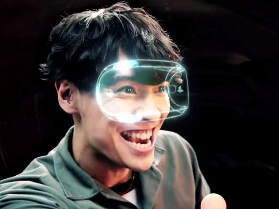 This guy seems to be having a lot of fun with his superimposed white line mask  Photo: http://www.cnet.com/news/sonys-project-morpheus-is-now-playstation-vr/