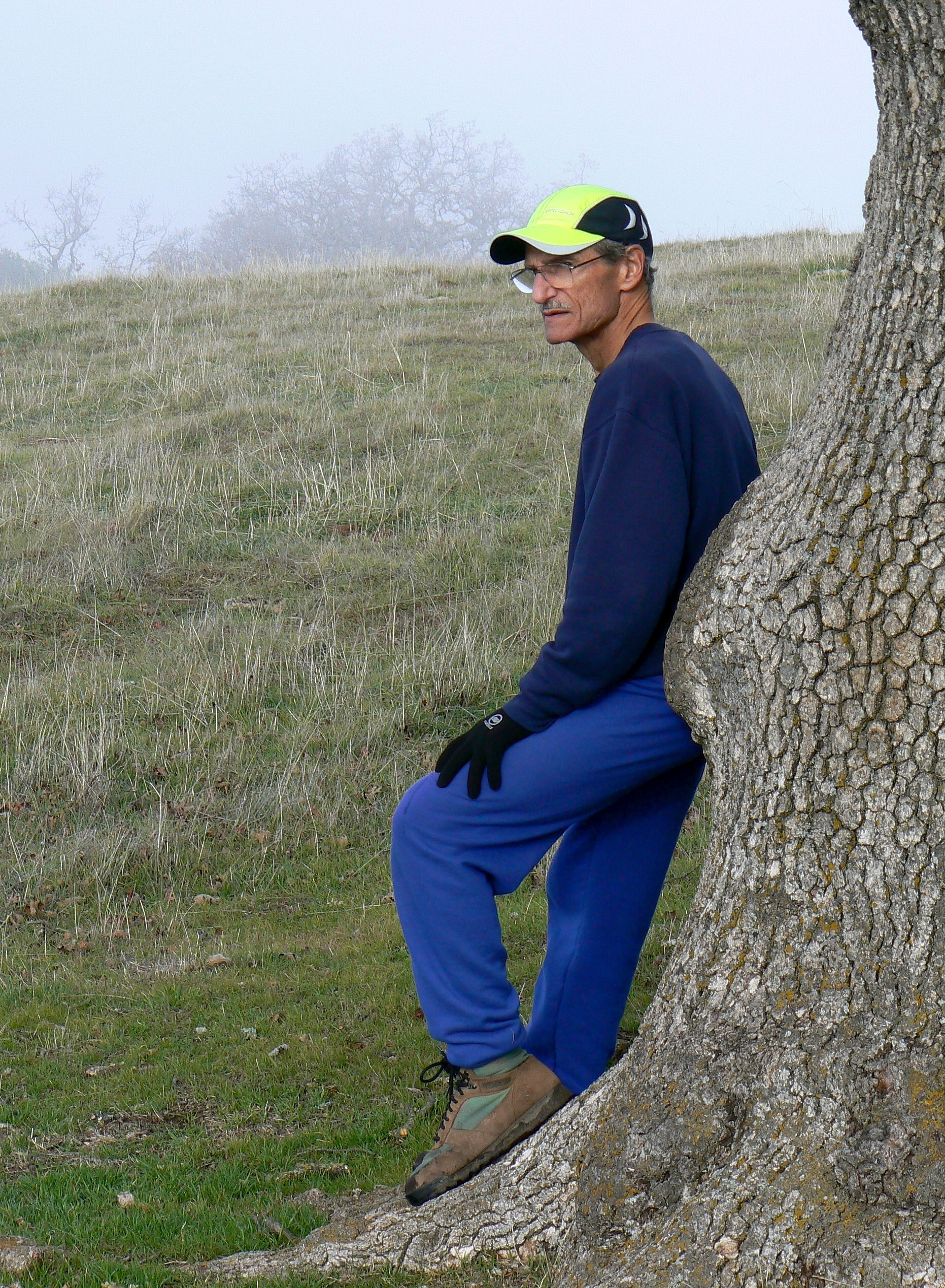 Tony Salinaro takes a breather – not that he ever needs one – on a foggy December morning at Sunol Regional Wilderness.