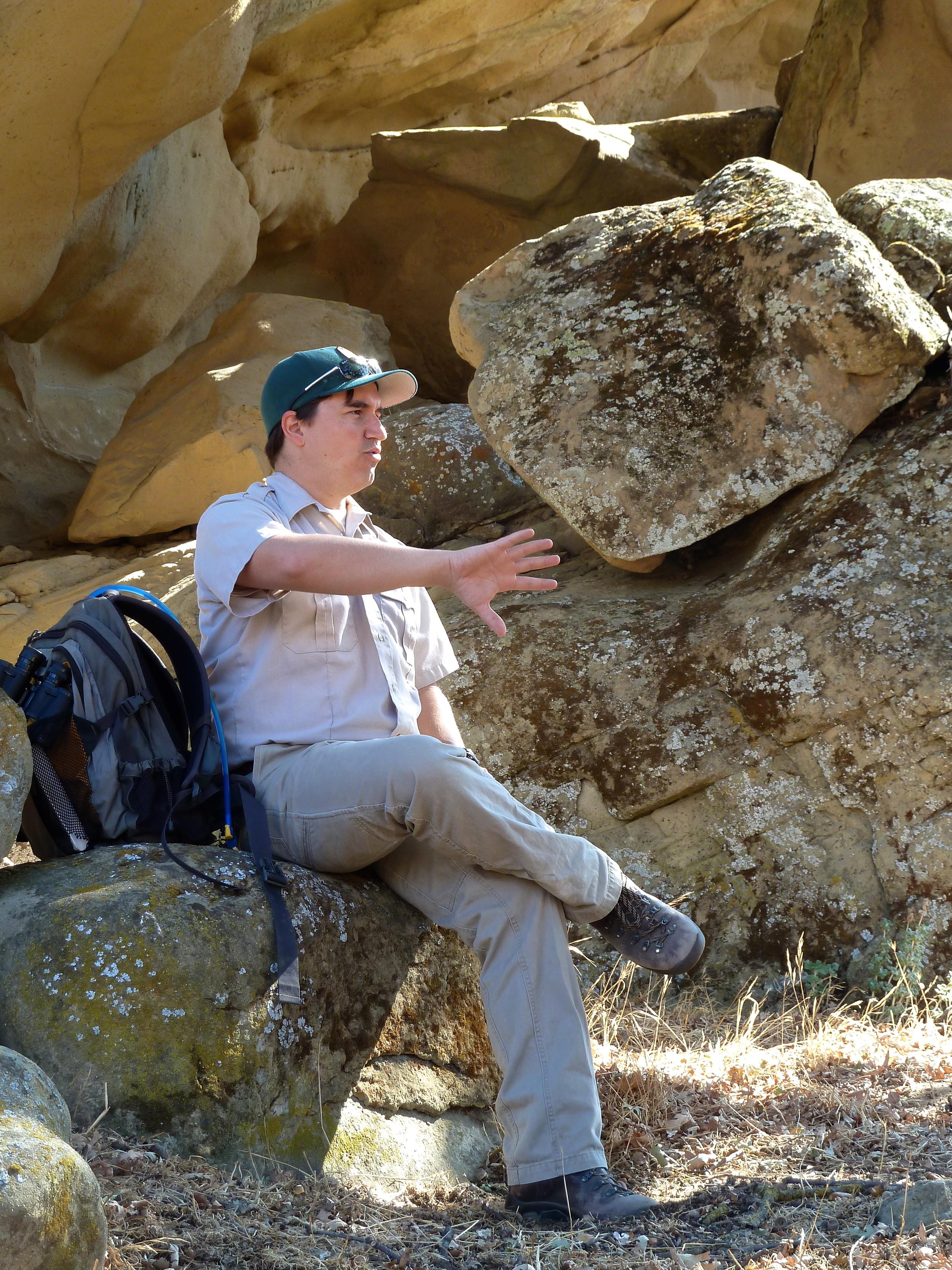 Eddie Willis explains Native American cosmology at Vasco Caves Regional Preserve.