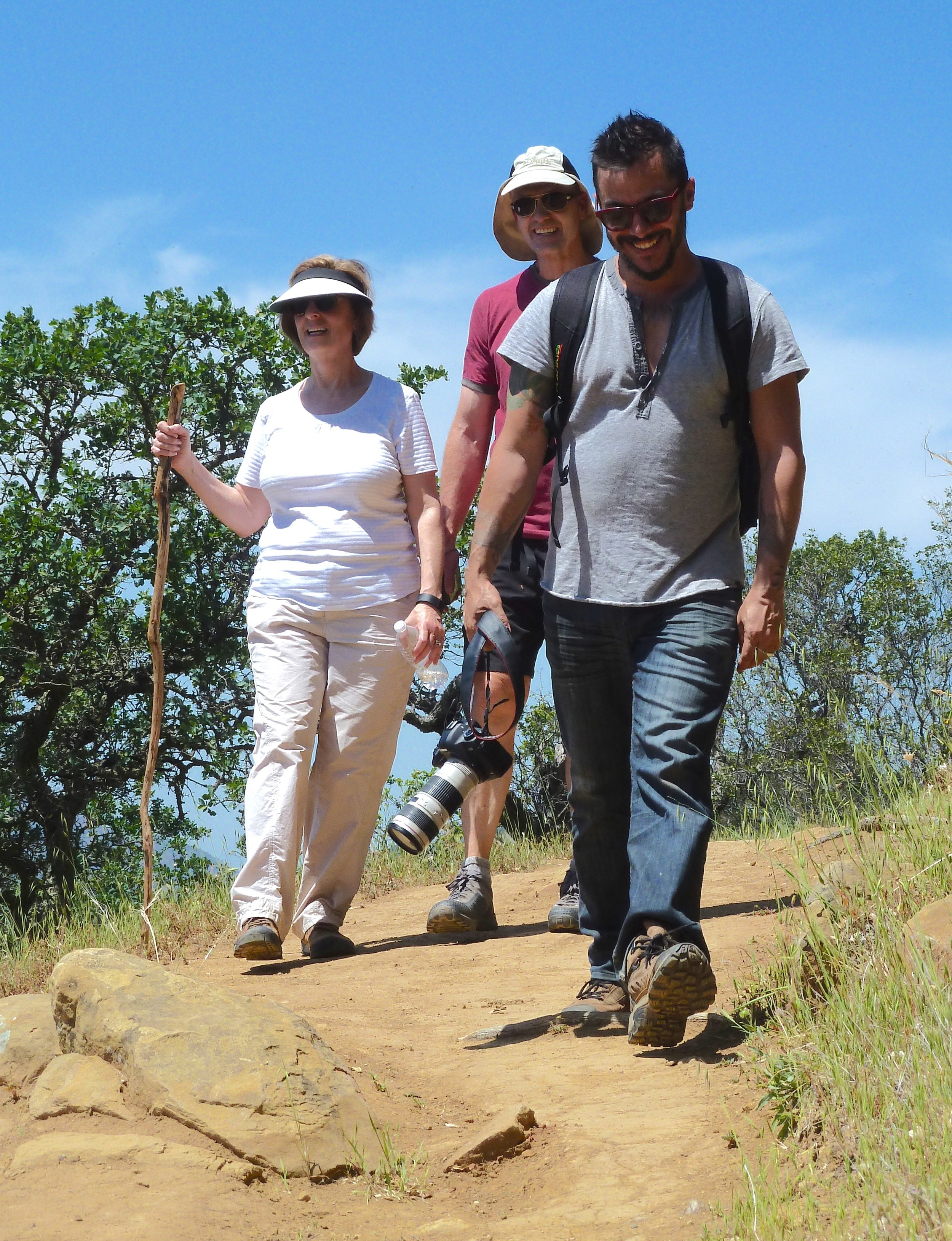 Susan Anderson, Phil Anderson and Jeremy Patlen go truckin' down the Condor Trail at Morgan Territory Regional Preserve.