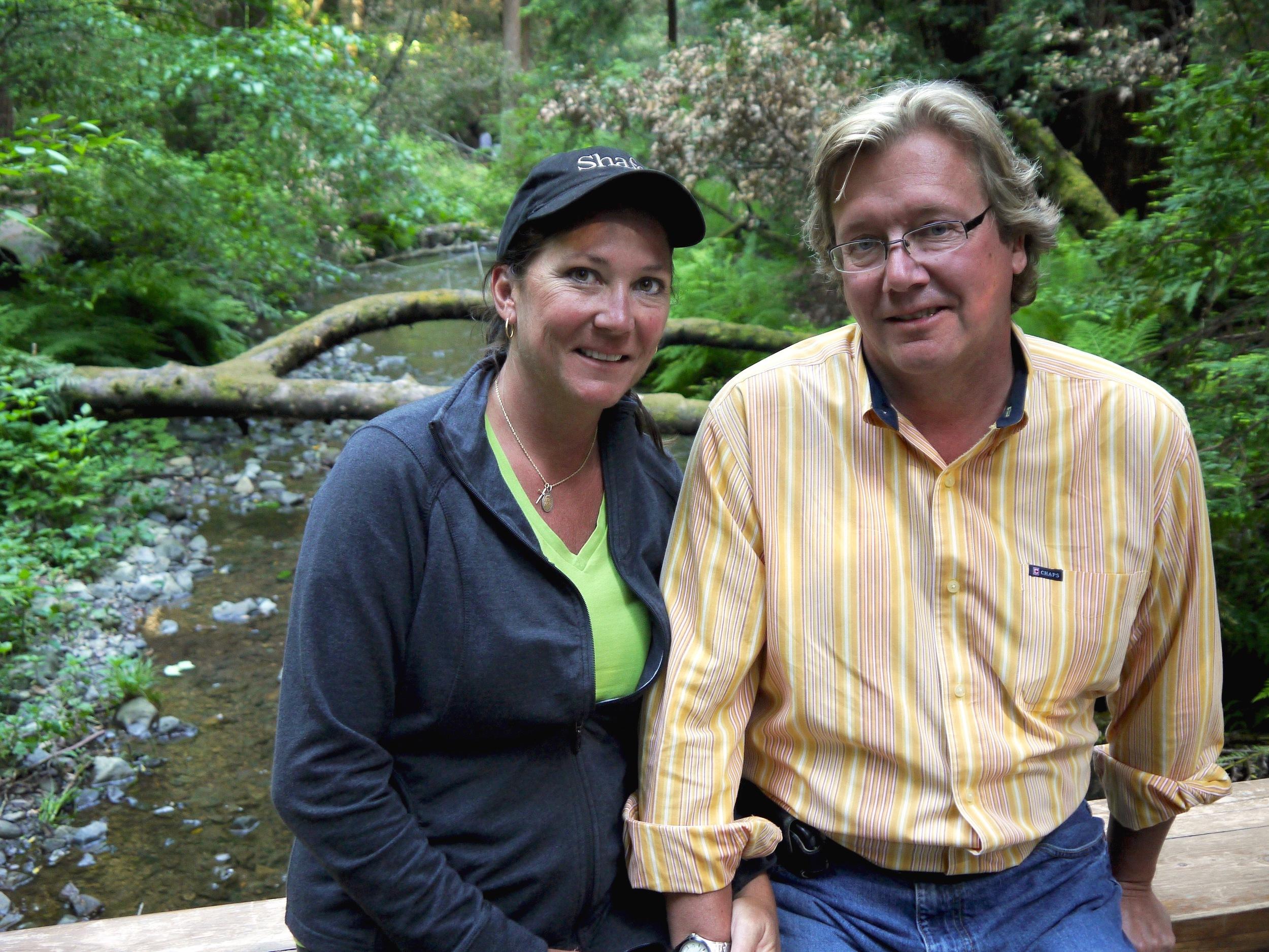 Lisa and Brian Kovach relax in the placid grandeur of Muir Woods.