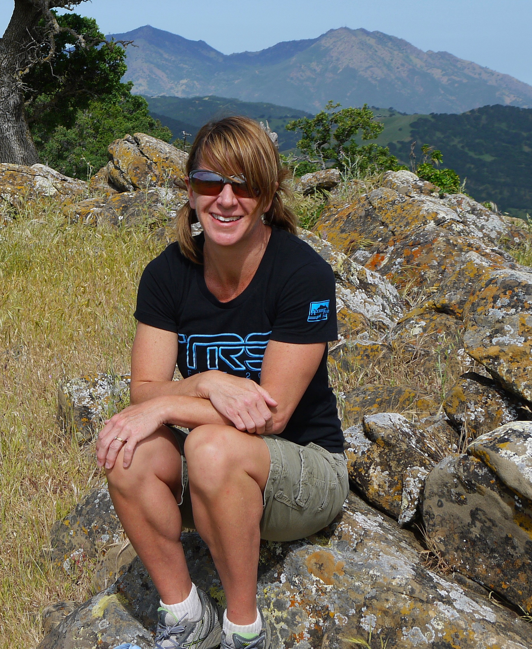 Kathy Schwartz savors a spring morning on the Round Valley summit.