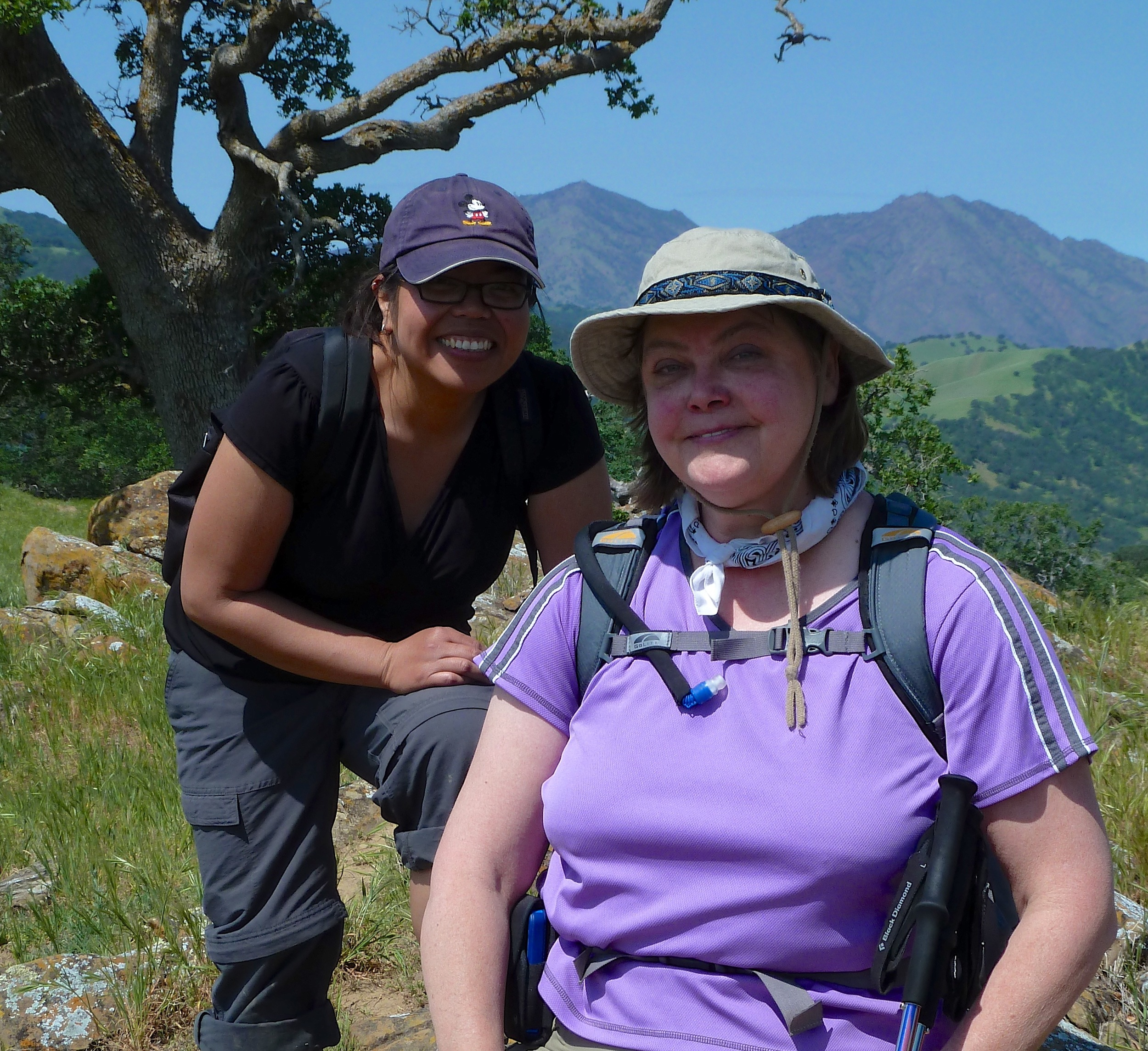 Chris Galiza and Deb Janis catch their breath after taking the steep shortcut to the Round Valley summit.