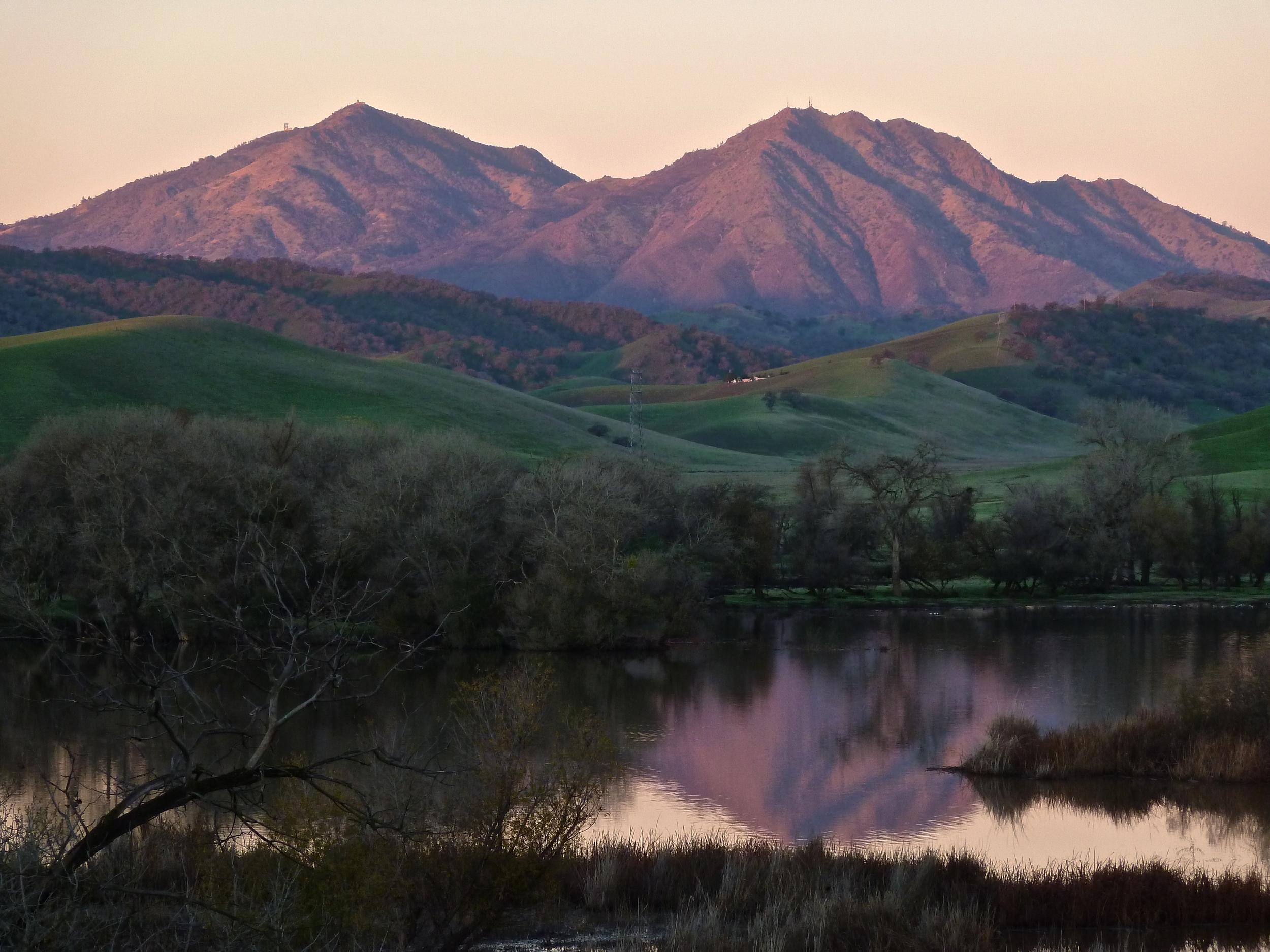 Mt. Diablo at sunrise viewed from Marsh Creek Reservoir.