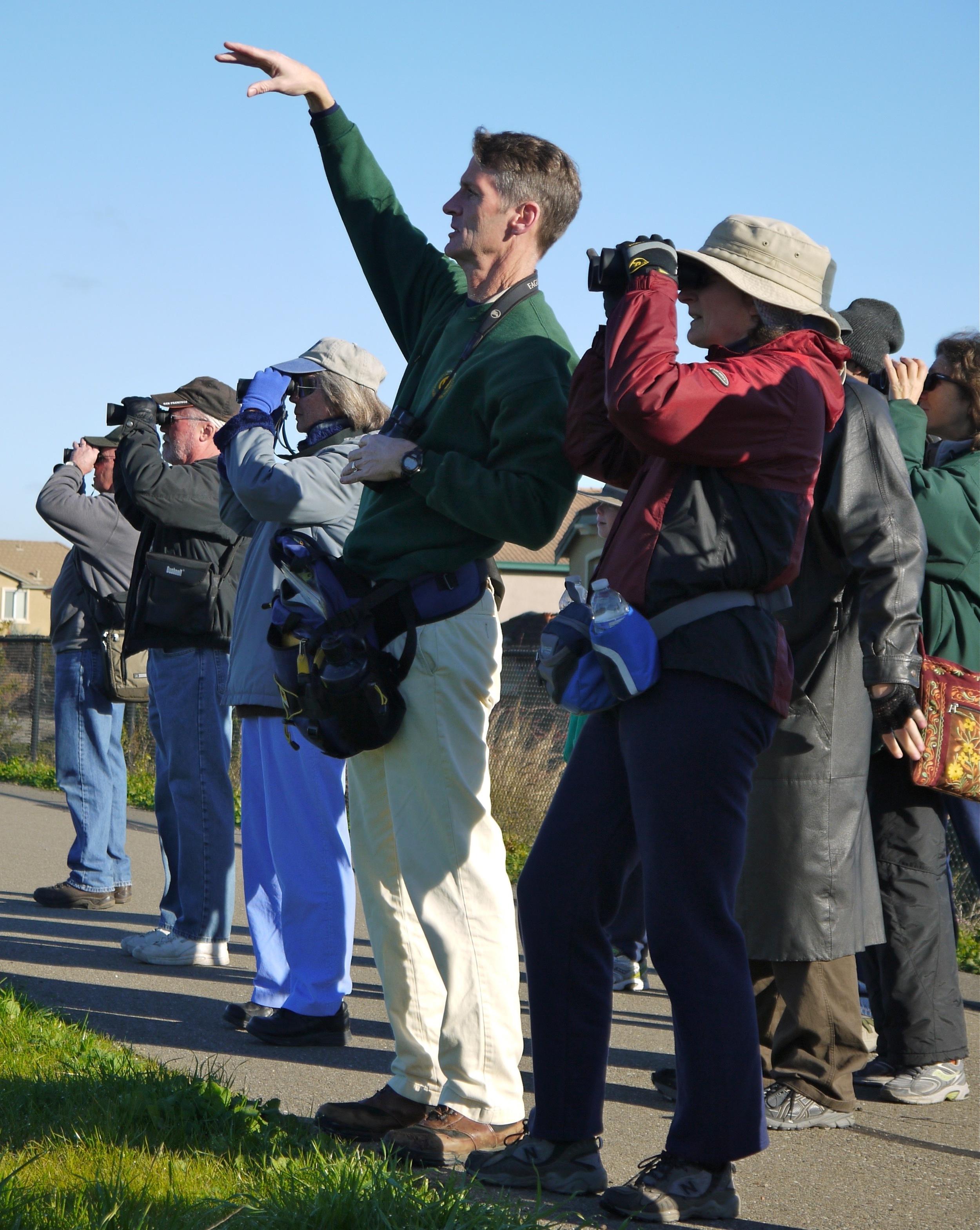 Mike Moran leads a Raptor Baseline expedition at Big Break Regional Shoreline.