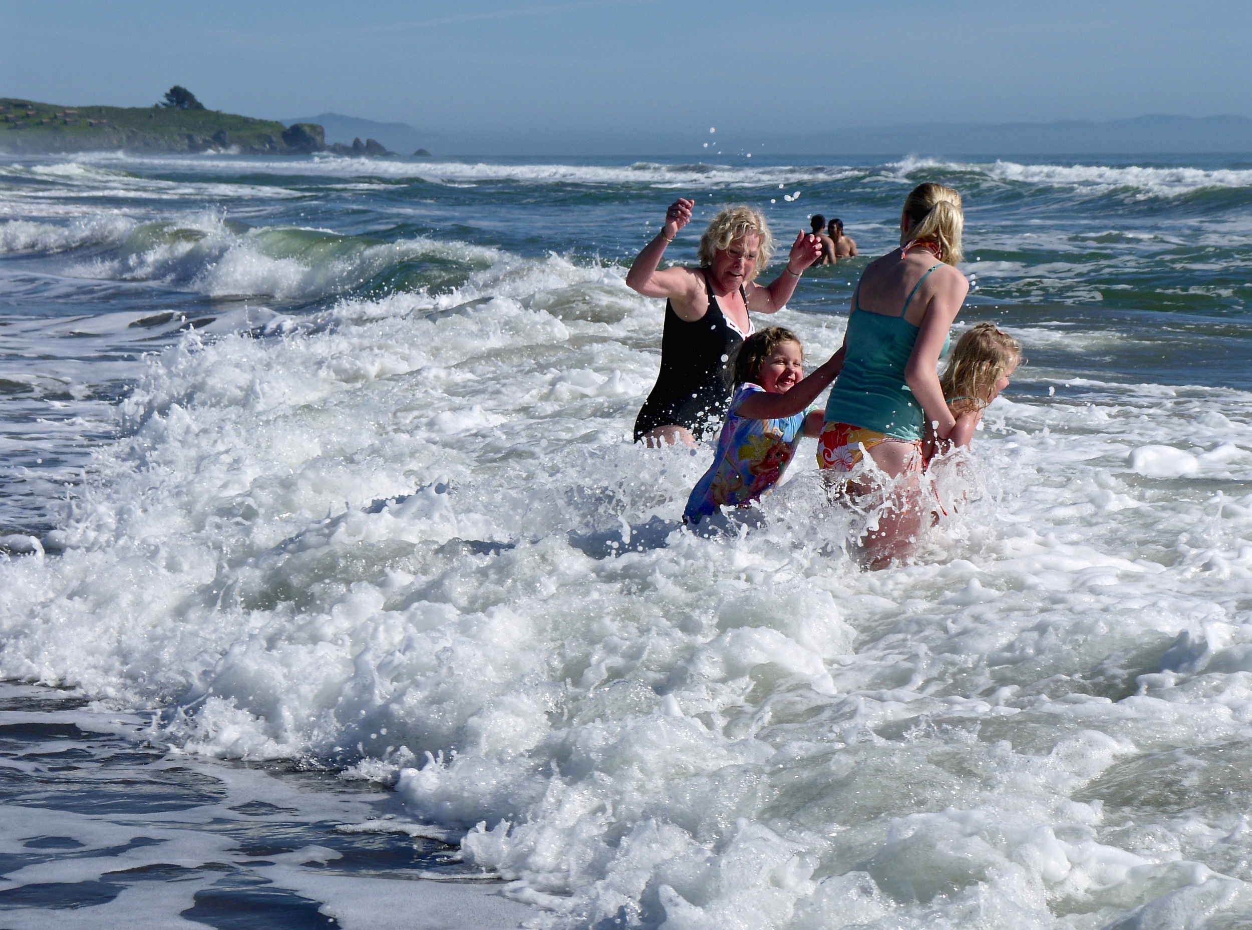 A family takes the plunge at Stinson Beach