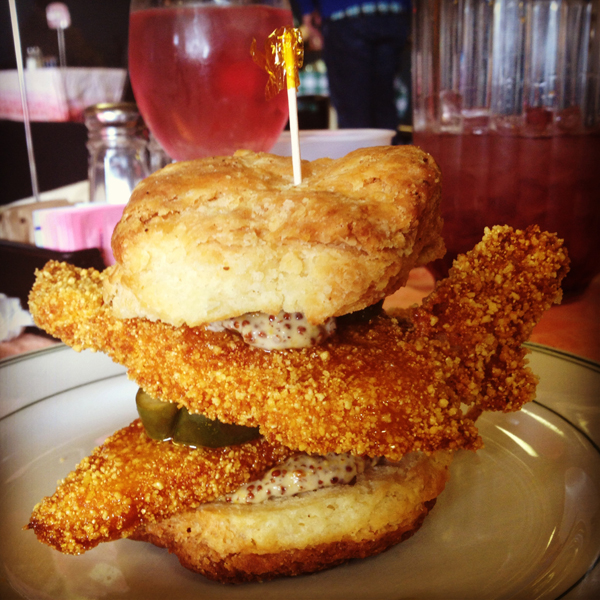 Beachland's famous Southern buttermilk fried chicken & biscuit sandwich