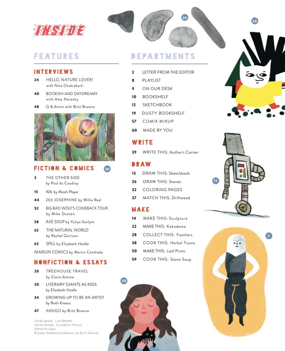 The Outside-In issue's table of contents. So much good inside....