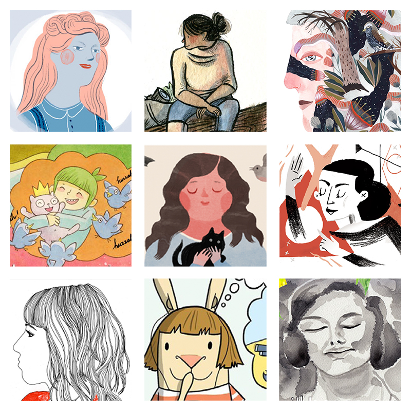 """Images left to right:  Louise Bourgeois by   Elizabeth Haidle   (issue 2); sketchbook drawing by   Lisa Brown   (issue 3);watercolor portrait by   Lindsay Stripling   (issue 2);""""Dream Before Building"""" by   Lark Pien   (issue 1); Beatrix Potter  by     Elizabeth Haidle   (issue 3);  Martha Graham by   Marlowe Dobbe   (issue 2); self-portrait by   Nina Chakrabarti   (issue 3); excerpt from  El Deafo  by   Cece Bell   (issue 1); """"Hiroshima Mon Amour"""" by   Britt Browne   (issue 3)"""