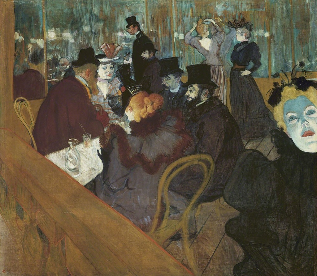 At the Moulin Rouge , Henri de Toulouse-Lautrec, 1895.