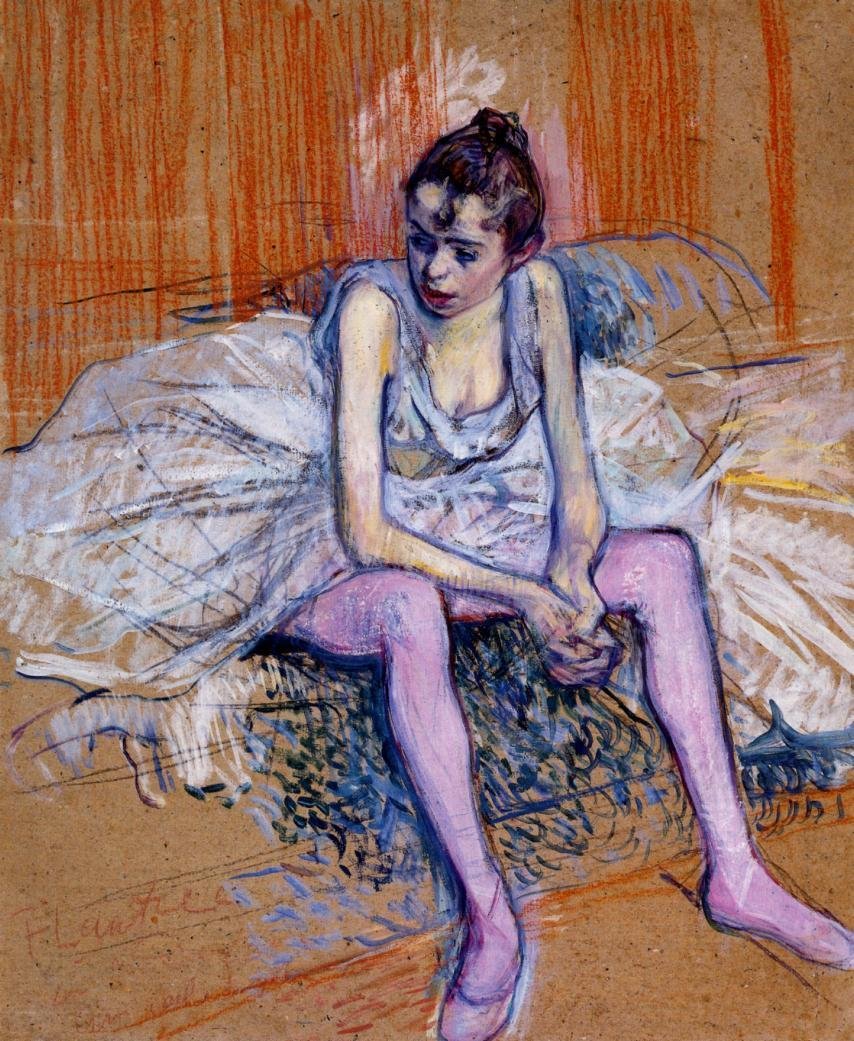 Seated Dancer in the Pink Tights , Henri de Toulouse-Lautrec, 1890.