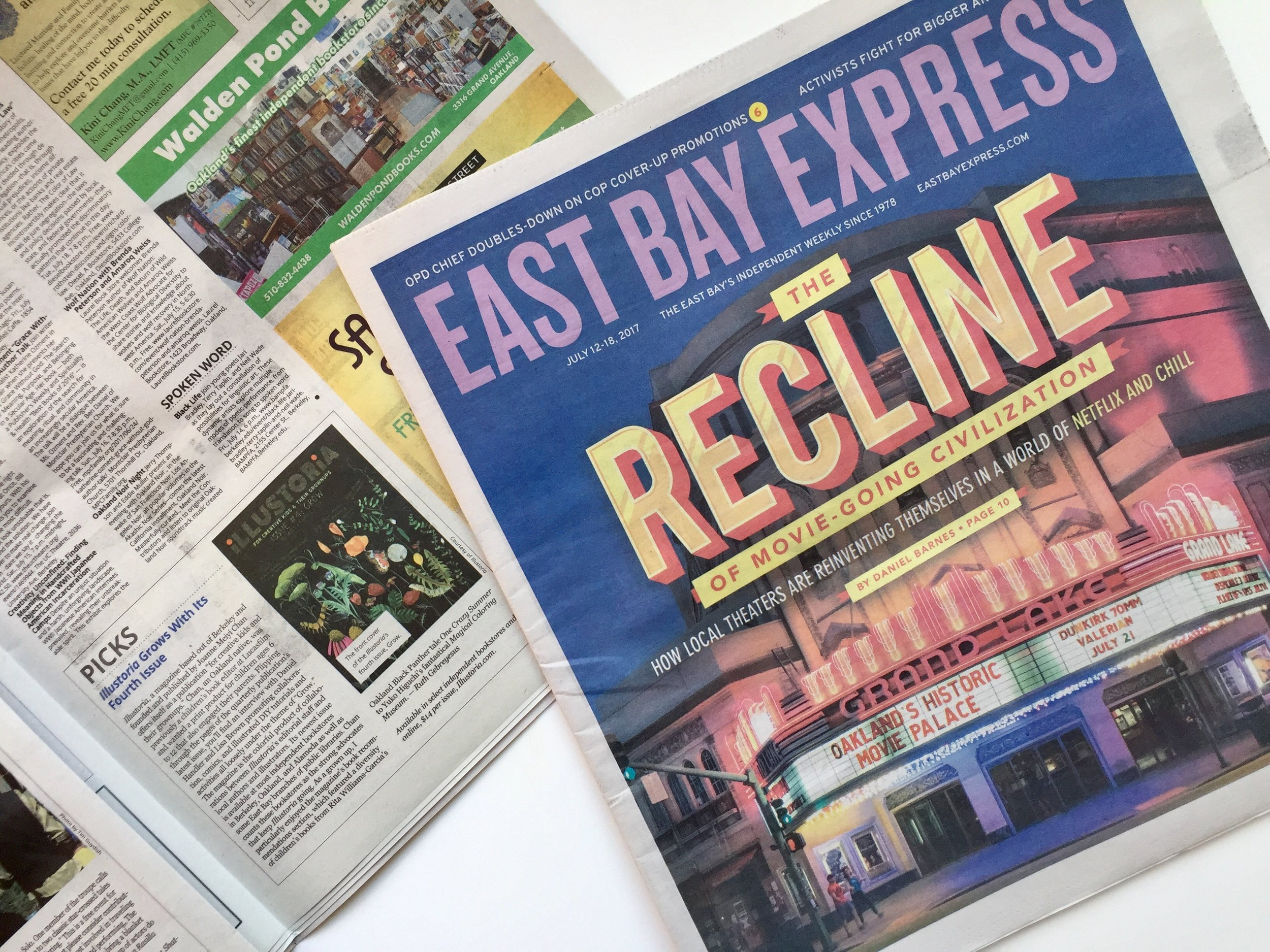 "Illustoria featured in the ""Picks"" section of  East Bay Express , July 12-18 2017 issue, with a stunning cover that features Oakland's historic Grand Lake Theater."