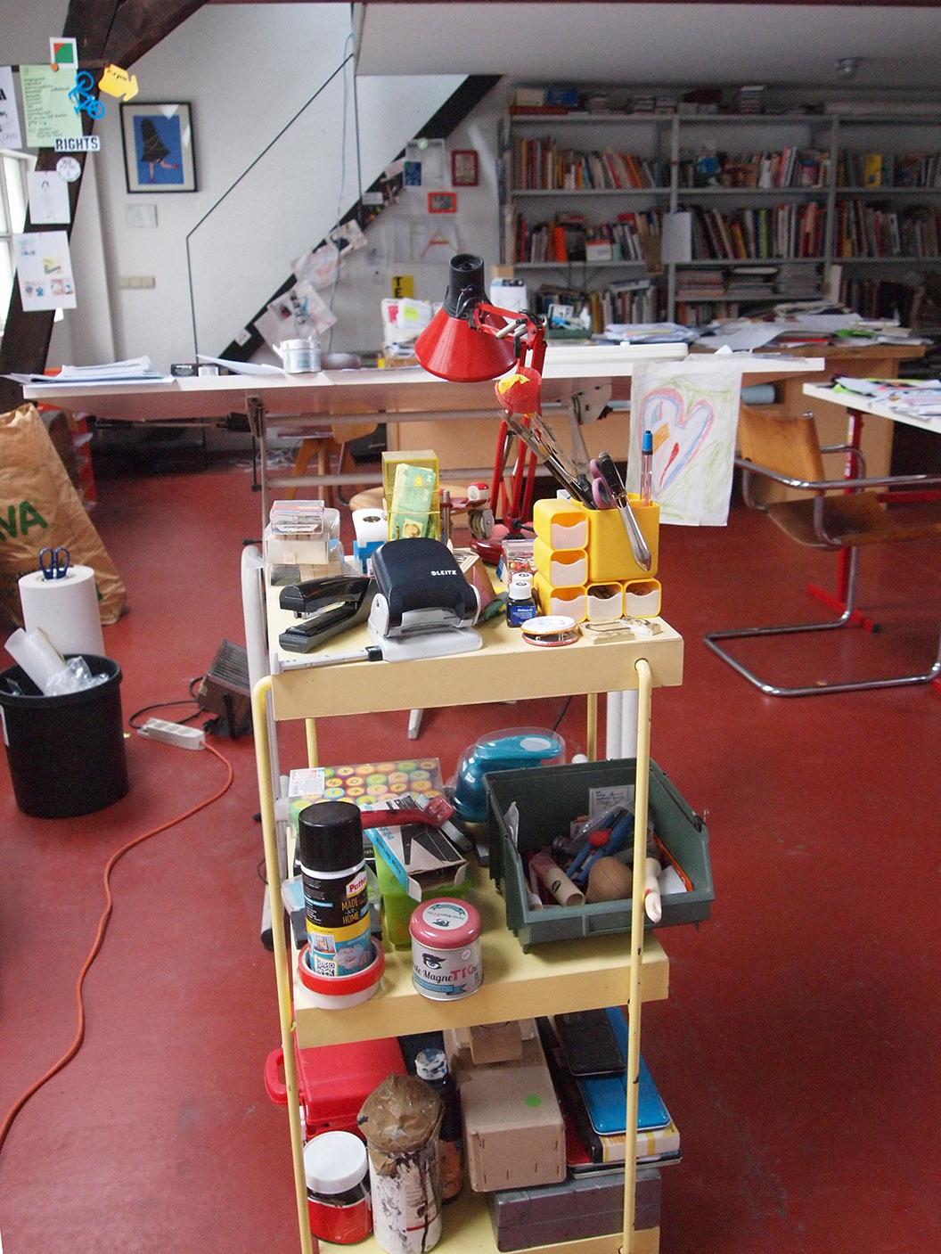 Teresa Sdralevich's printmaking studio in Brussels.