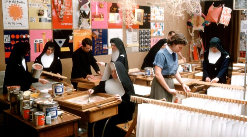 Sister Corita Kent in her silkscreening workshop at Immaculate Heart College in Los Angeles, CA.