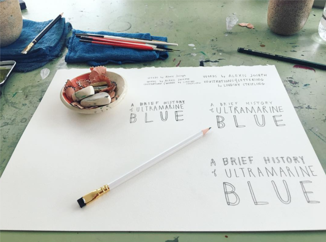 art by Lindsay Stripling; lettering for A Brief History of Ultramarine Blue, from  Illustoria  Issue 4: Grow