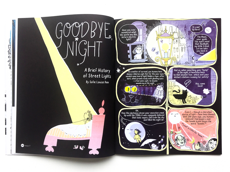 Goodbye, Night; A Brief History of Street Lights  by Sofie Louise Dam, featured in ILLUSTORIA   Issue #7: Black & White  .