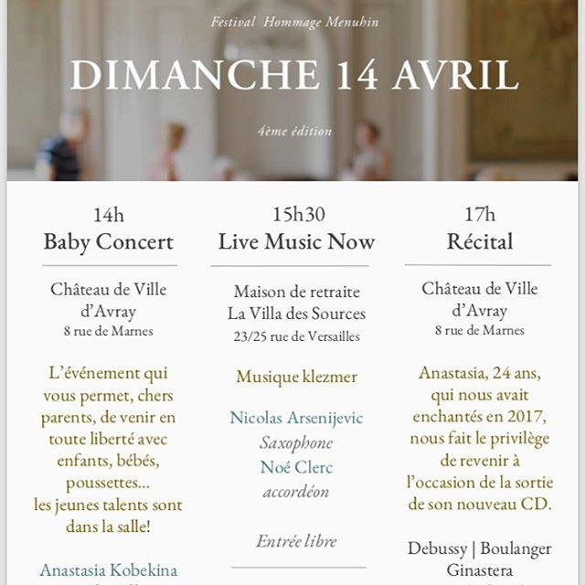 Découvrez le programme! #villedavray #festival #hommage #menuhin #concert #musiquedechambre #babyconcert #livemusicnow #anastasiakobekina #palomakouider #yehudimenuhin #villadessources #maisonderetraite #chateaudevilledavray #chateau #iledefrance #versailles