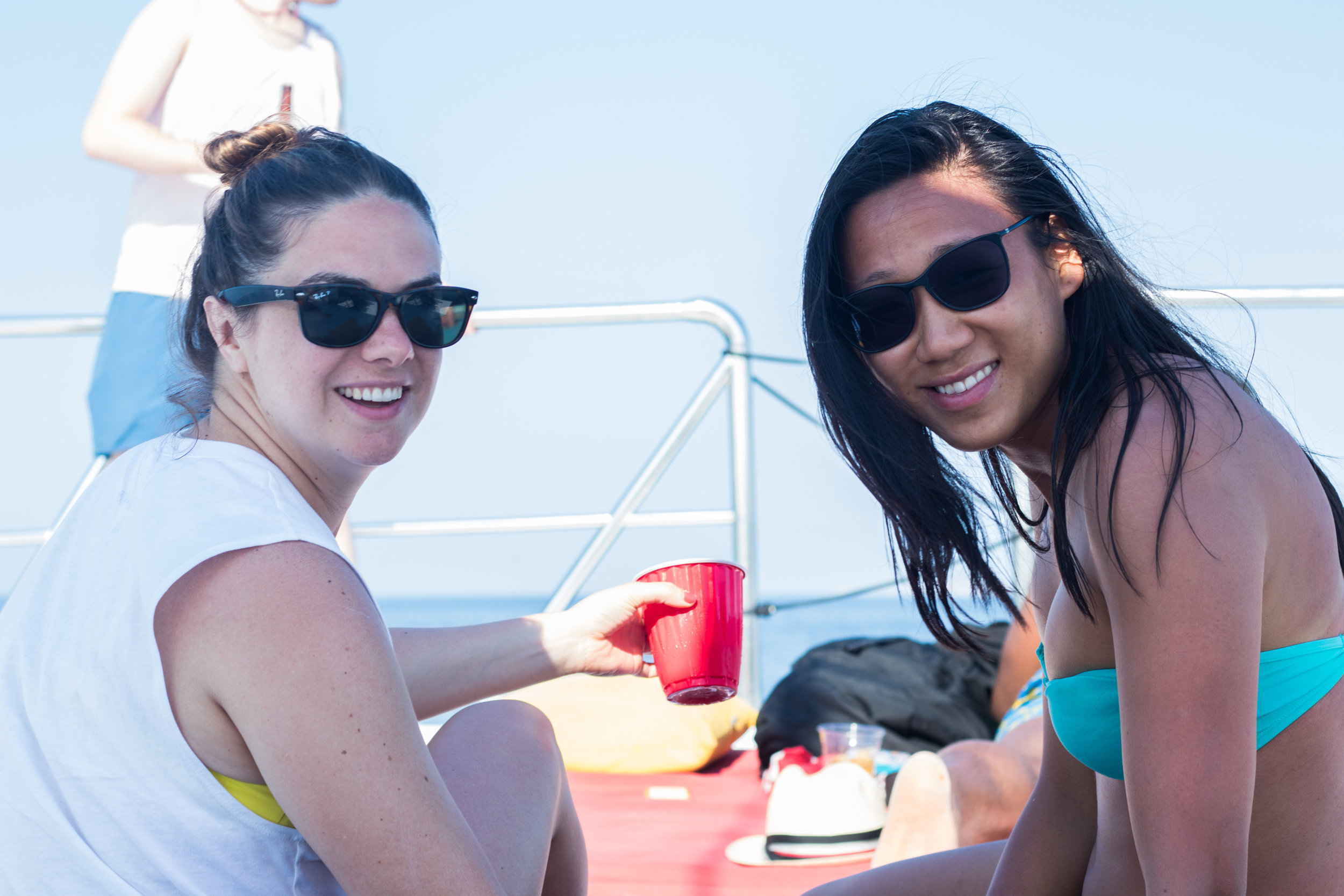 Meaghan and Christine sailing the high seas.
