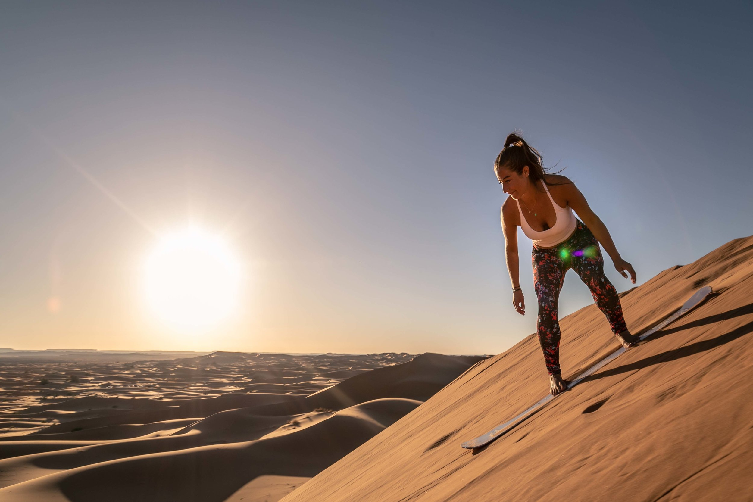Sand boarding the Sahara desert